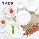 【生活采家】花語冬櫻骨瓷系列用餐56件套組#28005