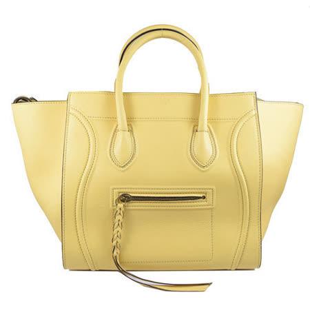 CELINE Small Square Luggage小牛皮微笑造型冏臉包.淡黃色