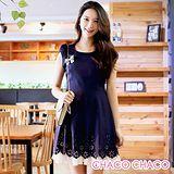 預購【CHACO韓國】雙層配色剪花裙襬花瓣短袖連身洋裝CLEB-O-40(丈青色M/L)