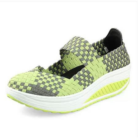【Maya easy】綠色 編織款撞色系列休閒搖擺健走鞋(鞋跟5cm高)