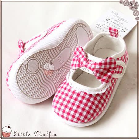 桃紅格紋蝴蝶結娃娃鞋/帆布鞋/童鞋 膠底防滑外出鞋 SMI351