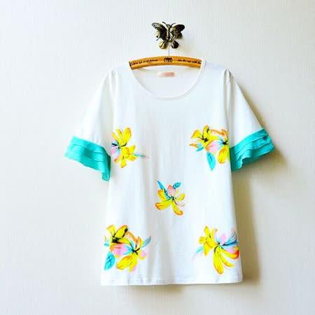 【Maya Collection森林系】層層荷葉邊雪紡袖繽紛花朵棉質短袖上衣