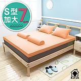 [輕鬆睡-EzTek] S型溝槽式竹炭感溫釋壓記憶床墊{加大7cm}繽紛多彩2色