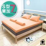[輕鬆睡-EzTek] S型溝槽式竹炭感溫釋壓記憶床墊{單加7cm}繽紛多彩2色