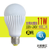 【太星電工】嘉年華11W全周光LED燈泡/黃光(4入)   GLD-G11LFA4