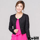 【KVOLL大尺碼】黑色修身短版小西裝外套