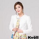 【KVOLL大尺碼】白色修身短版小西裝外套