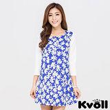 【KVOLL大尺碼】藍色修身七分袖印花雪紡洋裝