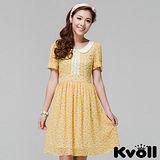 【KVOLL大尺碼】黃色修身撞色印花雪紡洋裝