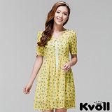【KVOLL大尺碼】黃色修身V領碎花雪紡連衣裙
