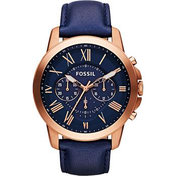 FOSSIL 旗艦玩家復刻計時腕錶-藍x玫塊金 FS4835