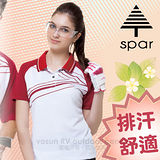【SPAR】女款 細眼彈性短袖排汗衣.POLO衫.休閒衫/SP73553 白色
