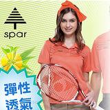 【SPAR】女款 細眼彈性短袖排汗衣.POLO衫.休閒衫/輕量舒適.吸濕排汗.快乾透氣.耐穿/SP73593 朱雀紅