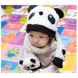 【PS Mall】卡通熊貓造型 圍巾+帽子/兒童套裝帽子 (B131)