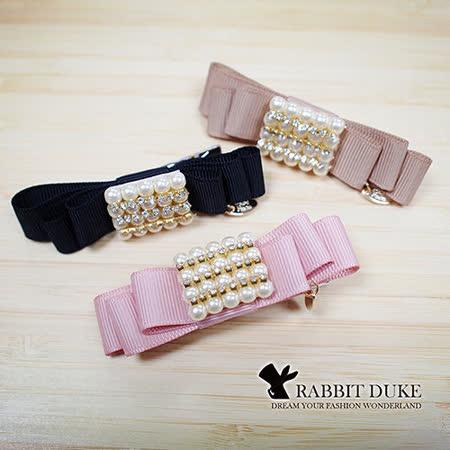 【Rabbit Duke】經典歐美風格 個性蝴蝶結珍珠排鑽設計髮夾