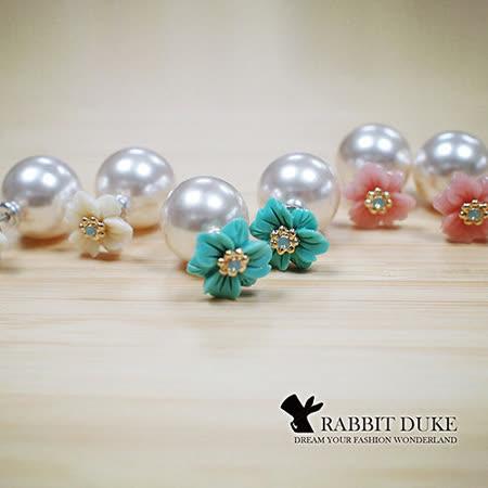 【Rabbit Duke】經典歐美風格 個性粉嫩繽紛花朵鑲鑽設計珍珠雙面耳環