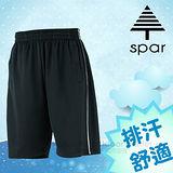 【SPAR】男款 排汗休閒運動短褲.彈性休閒褲/輕量舒適.吸濕排汗.快乾透氣.耐穿/SB62681 黑色/白色