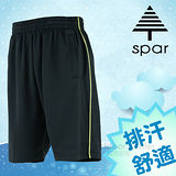 【SPAR】男款 排汗休閒運動短褲.彈性休閒褲/輕量舒適.吸濕排汗.快乾透氣.耐穿/SB62682 黑色/螢光黃色