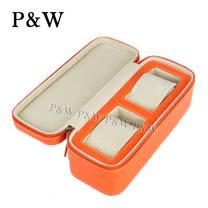 【P&W名錶收藏盒】【橘色真皮皮革】2支裝 手工精品 錶盒