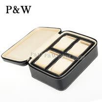 【P&W名錶收藏盒】【黑色真皮皮革】4支裝 手工精品 錶盒