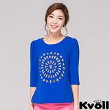 【KVOLL大尺碼】藍色鏤空燒花寬鬆雪紡衫
