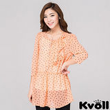 【KVOLL大尺碼】桔色修身波點中長款雪紡襯衫