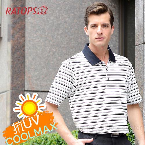 【RATOPS】COOLMAX 男款 輕量透氣短袖POLO衫.運動休閒衫.防晒衣.排汗衣/ DB8619 米白