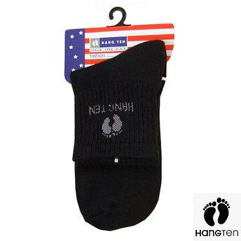 HANG TEN 1/2氣墊運動襪-黑(22~24cm)
