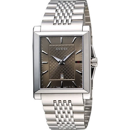 GUCCI G-Timeless 格紋時尚腕錶-咖啡 YA138402