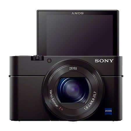 SONY RX100M3 (RX100III) 大光圈WiFi類單眼相機(公司貨)-送64GC10高速卡+原廠鋰電池(含標配共2顆)+相機包+BX1充電器+HDMI線+清潔組+保護貼+讀卡機+小腳架
