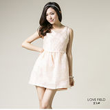 艾之田LOVE FIELD-甜美氣質窄版合身圓領背心繡花洋裝