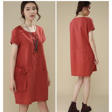 【Maya 名媛】 (中大碼)  薄棉麻大口背袋造型連衣裙 洋裝 連衣裙-橘色