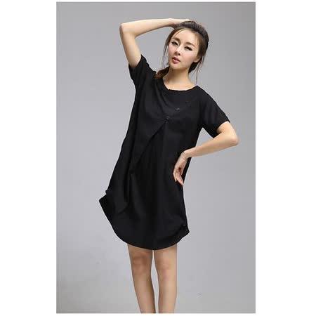 【Maya 名媛】 (中大碼)  棉麻 立體版圓包裙 連身洋裝-黑色
