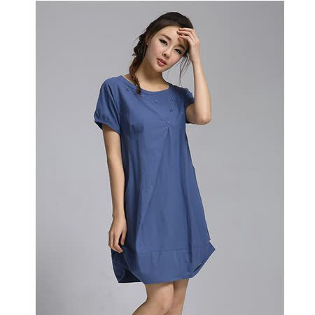【Maya 名媛】 (中大碼)  棉麻 立體版圓包裙 連身洋裝-藍色