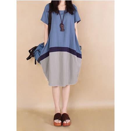 【Maya 名媛】 (M~2XL)  薄棉麻立體 撞色圓裙 連衣裙 洋裝-藍灰色