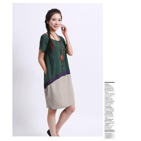 【Maya 名媛】 (M~2XL)  薄棉麻立體 撞色圓裙 連衣裙 洋裝-綠灰色