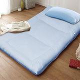KOTAS-酷涼 涼感竹炭雙人床墊+Ice涼感紗枕 二件組-藍