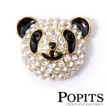 美國POPITS活動水晶扣飾-微笑熊貓 (金、銀2色)