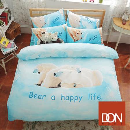 《DON 快樂一家》 雙人四件式蜜絲絨兩用被床包組