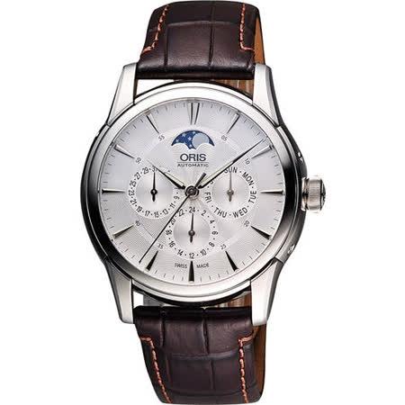 Oris Artelier藝術家多功能月相盈虧機械腕錶-銀 0178177034051-0752170fc