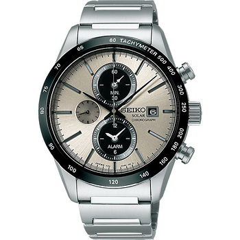 SEIKO SPIRIT 太陽能鬧鈴兩地時間計時腕錶-銀灰 V172-0AP0S