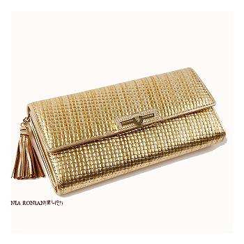 預購【CHACO韓國】專櫃OMNIA陲墜流蘇羊皮編織長夾包*華麗金色
