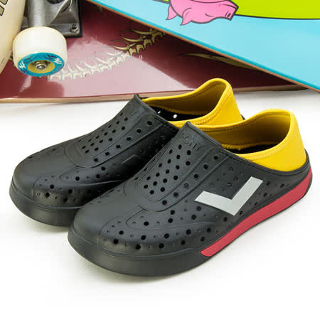 【PONY】女--防水透氣 EN-JOY 二代洞洞休閒鞋 世足配色 黑紅黃 42U1SA01BK