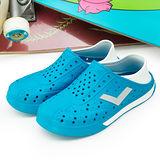 【PONY】女--防水透氣 EN-JOY 二代洞洞休閒鞋 世足配色 藍白 42U1SA01RB