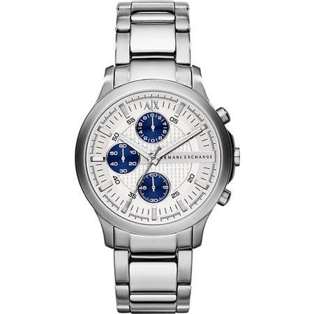 A│X Armani Exchange 都會時尚三眼計時腕錶-銀 AX2139