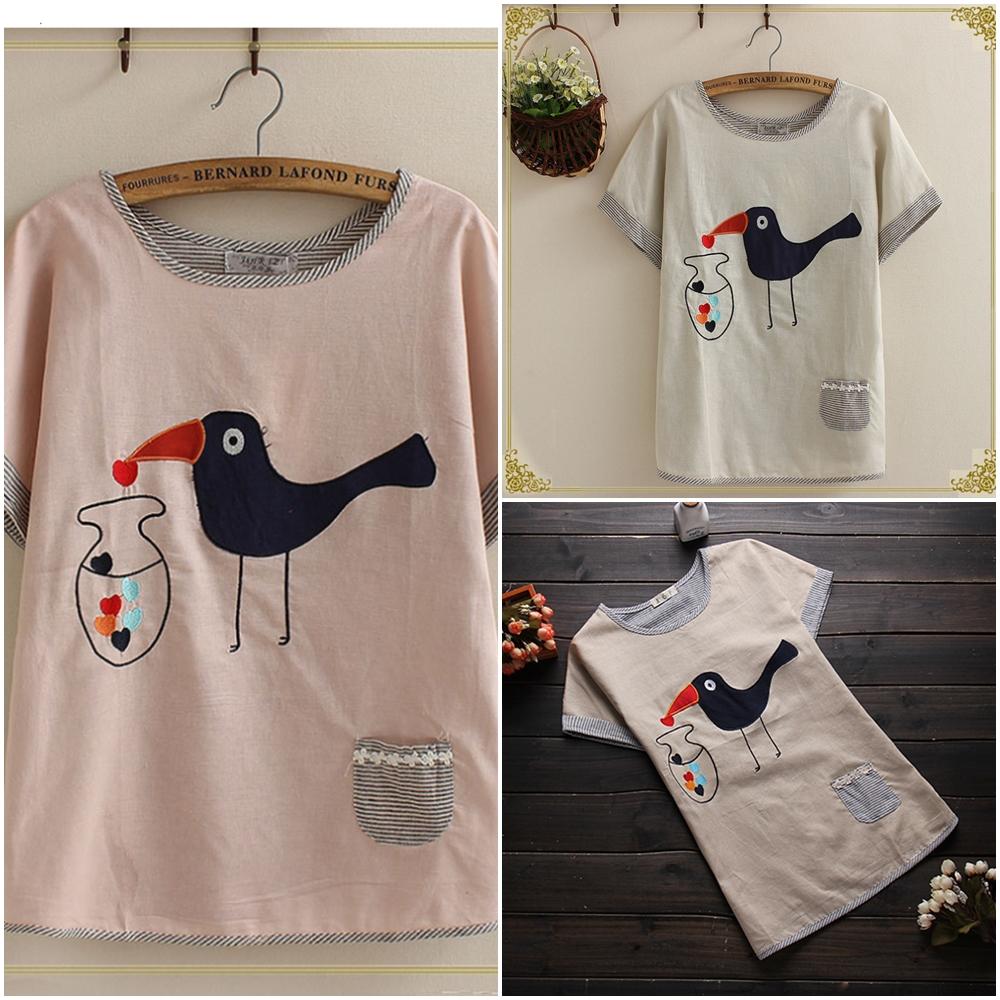 ~Maya Collection~儲存愛心的小鳥拼接刺繡上衣