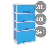 【亮眼百搭】花彩3+1四層組合抽屜收納櫃(28L+40L)