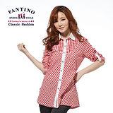 【FANTINO】專櫃品牌新品_法國經典格紋修身長版上衣(紅、紅藍) 274135-136
