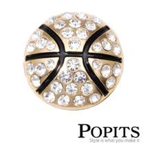 美國POPITS活動水晶扣飾-籃球(金色)