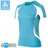 【瑞士 ODLO】女新款 銀離子圓領短袖T恤.吸濕排汗衣.運動上衣/ 346571 淺藍/白